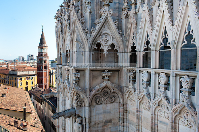 Details of Il Duomo, Milan, Italy View from the top of the Duomo, Milan, Italy