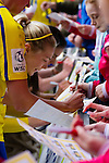 Doncaster Rovers Belles 1 Chelsea Ladies 4, 20/03/2016. Keepmoat Stadium, Womens FA Cup. Emily Simpkins of Doncaster Rovers Belles signing autographs after the match. Photo by Paul Thompson.