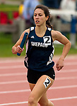 LITCHFIELD,  CT-052017JS05- Shepaug's Emma Krebs, make her way to the finish line as she anchors the winning 4x800M compete in the 4x800M relay during the Berkshire League Outdoor Track and Field Championships Saturday at the Plumb Hill Sports Complex in Litchfield. <br /> Jim Shannon Republican-American