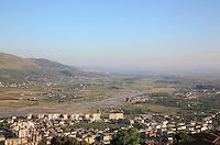 View of the South West modern part of the city of Berat with the river Osum, seen from Berat Castle, Berat, South-Central Albania, capital of the District of Berat and the County of Berat. Picture by Manuel Cohen