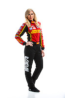Feb 8, 2017; Pomona, CA, USA; NHRA funny car driver Courtney Force poses for a portrait during media day at Auto Club Raceway at Pomona. Mandatory Credit: Mark J. Rebilas-USA TODAY Sports