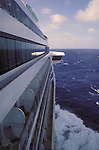 Cruise Ship on Open Seas Looking Along Side Toward Bow and Flying Bridge