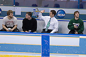 Daniel Vukovic (Michigan State - North York, ON), Robert Norris, Mike Vorkapich, NAME chat on the bench prior to warmups.  The Michigan State Spartans defeated the Boston College Eagles 3-1 (EN) to win the national championship in the final game of the 2007 Frozen Four at the Scottrade Center in St. Louis, Missouri on Saturday, April 7, 2007.