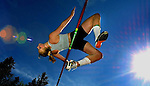 PSU track team high jumper Lisa Gunderson soars over the bar on the Lewis and Clark College track in Portland, Oregon