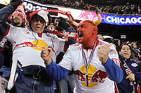 New York Red Bulls fans celebrate the first goal of the game during the first half of a Major League Soccer match between the New York Red Bulls and the Chicago Fire at Red Bull Arena in Harrison, NJ, on March 27, 2010.