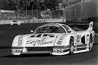 MIAMI, FL - MARCH 2: Bobby Rahal drives the Ralph Sanchez Racing March 85G/Chevrolet during the Lowenbrau Grand Prix of Miami IMSA GTP race on the temporary street circuit in Bicentennial Park in Miami, Florida, on March 2, 1986.
