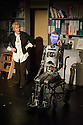 Edinburgh, UK. 07.08.2015. Pipeline Theatre presents SPILLIKIN, at the Pleasance Dome, as part of the Edinburgh Festival Fringe.  Written and directed by Jon Welch, designed by Jude Munden and Alan Munden. Robot Maker, Will Jackson. The cast is: Helen Ryan (Sally), Anna Munden (Young Sally), Michael Tonkin-Jones (Raymond), Alan Munden (Jonas),  and Robothespian (Robot/Raybot). © Jane Hobson.