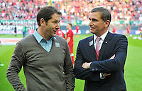 FUSSBALL 1. BUNDESLIGA   SAISON   2012/2013: RELEGATION   RUECKSPIEL 1. FC Kaiserslautern - TSG 1899 Hoffenheim         27.05.2013 Trainer Franco Foda und Manager Stefan Kuntz (v.l., beide 1. FC Kaiserslautern)