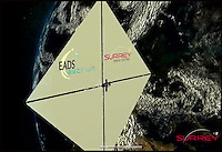 BNPS.co.uk (01202 558833).Pic: UniversityOfSurrey/BNPS..***Please use full byline***..Space dustman.....The deployed sail...The University of Surrey is developing a cunning new satellite that should help clean up the thousands of items of space junk now orbiting the earth...The satellites use an enormous sail to manouvere through space and attach themselves to orbiting junk. The  conjoined items then fall into the atmosphere and burn up...Scientists at the University of Surrey have been working on the project, funded by the European space company Astrium, for the last three years...It is hoped the first satellite could be launched by the end of the year..