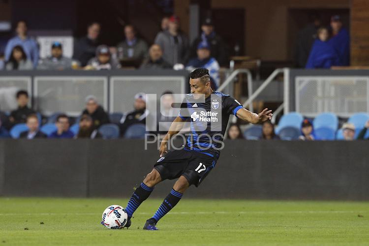 San Jose, CA - Wednesday May 17, 2017: Darwin Ceren during a Major League Soccer (MLS) match between the San Jose Earthquakes and Orlando City SC at Avaya Stadium.