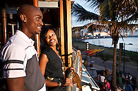 April 2009 Durban Night Life.Moyo at Ushaka Pier. Amanda Ngame (black shirt & jeans); Thembelihle Mazibuko (white & blue shirt & chocolate pants) Jessica Jayde Jamison (black shirt & jeans); Conan Course (light blue button shirt and jeans); Anderton Kevin Naidoo ( black & white shirt, grey pants)
