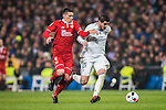 Alvaro Morata (r) of Real Madrid battles for the ball with Matias Kranevitter of Sevilla FC during their Copa del Rey Round of 16 match between Real Madrid and Sevilla FC at the Santiago Bernabeu Stadium on 04 January 2017 in Madrid, Spain. Photo by Diego Gonzalez Souto / Power Sport Images