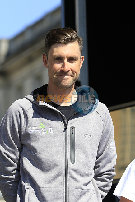 Bernhard Eisel (AUT) Team Dimension Data at the Team Presentation for the upcoming 115th edition of the Paris-Roubaix 2017 race held in Compiegne, France. 8th April 2017.<br /> Picture: Eoin Clarke | Cyclefile<br /> <br /> <br /> All photos usage must carry mandatory copyright credit (&copy; Cyclefile | Eoin Clarke)