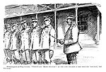 """Scotch Sergeant (drilling recruits). """"When I say 'right tur-r-rn!' At the last syllable o' the wor-r-rd 'tur-r-rn,' you tur-r-rn."""""""