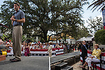 Republican Vice Presidential candidate Paul Ryan (R-WI) speaks at a campaign rally as his mother, Betty Douglas, right, listens on Saturday, August 18, 2012 in The Villages, FL.