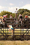 June 1, 2013. Huntersville, North Carolina<br />  Several of the obstacles required contestants to climb up and over walls.<br />  A North Carolina chapter of The Warrior Dash, which consists of a 5k run/walk broken up by several obstacles, was held over the weekend with thousands turning out to test their abilities in a race against the clock and each other. Participants in all age groups were sent out in heats over the course of the entire day.