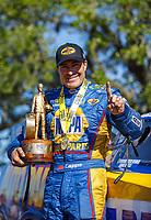 Apr 23, 2017; Baytown, TX, USA; NHRA funny car driver Ron Capps celebrates after winning the Springnationals at Royal Purple Raceway. Mandatory Credit: Mark J. Rebilas-USA TODAY Sports