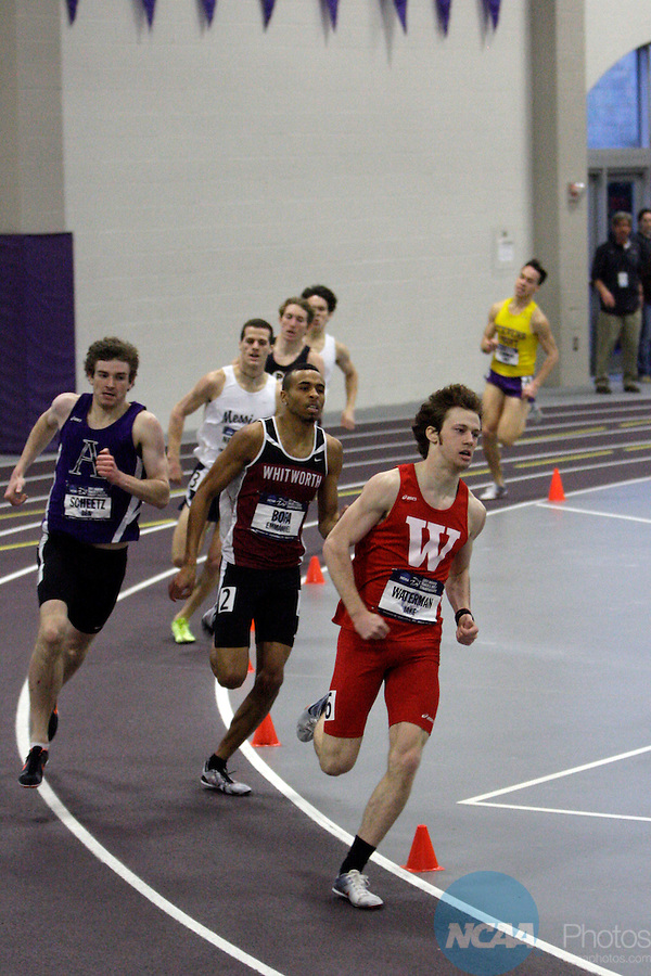 12 MAR 2011: Jake Waterman of Wabash College leads the pack as eventual winner Ben Scheetz of Amherst College (at left) follows during the 800 meter run during the Division III Men's and Women's Indoor Track and Field Championships held at the Capital Center Fieldhouse on the Capital University campus in Columbus, OH.  Jay LaPrete/NCAA Photos