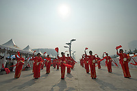Dancers perform before the 2011 Tour of Beijing, Stage 1 ITT