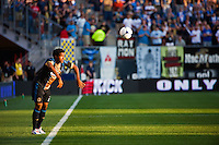 Sheanon Williams (25) of the Philadelphia Union on a throw in. The Chicago Fire defeated the Philadelphia Union 3-1 during a Major League Soccer (MLS) match at PPL Park in Chester, PA, on August 12, 2012.