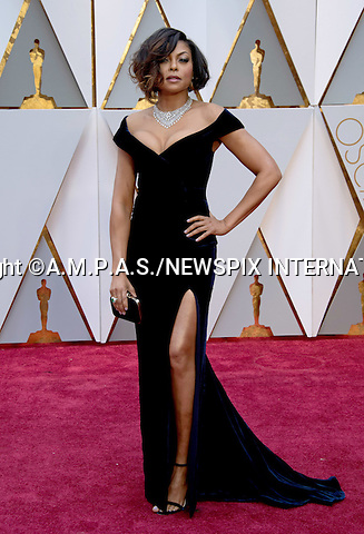 26.02.2017; Hollywood, USA: TARAJI P. HENSON<br /> attends The 89th Annual Academy Awards at the Dolby&reg; Theatre in Hollywood.<br /> Mandatory Photo Credit: &copy;AMPAS/NEWSPIX INTERNATIONAL<br /> <br /> IMMEDIATE CONFIRMATION OF USAGE REQUIRED:<br /> Newspix International, 31 Chinnery Hill, Bishop's Stortford, ENGLAND CM23 3PS<br /> Tel:+441279 324672  ; Fax: +441279656877<br /> Mobile:  07775681153<br /> e-mail: info@newspixinternational.co.uk<br /> Usage Implies Acceptance of Our Terms &amp; Conditions<br /> Please refer to usage terms. All Fees Payable To Newspix International
