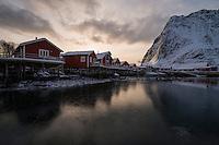 Traditional red Rorbu cabins in Reine, Moskenesøy, Lofoten Islands, Norway