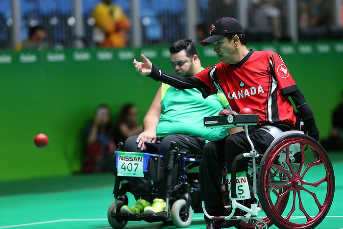 Rio de Janeiro-10/9/2016- Marco Dispaltro competes in the mixed bocci event against Brazil at the 2016 Paralympic Games in Rio. Photo Scott Grant/Canadian Paralympic Committee