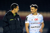 Matt Toomua of Leicester Tigers has a word with Dan Carter of Racing 92 after the match. European Rugby Champions Cup match, between Leicester Tigers and Racing 92 on October 23, 2016 at Welford Road in Leicester, England. Photo by: Patrick Khachfe / JMP