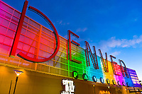 Denver sign, the Denver Pavilions (entertainment and shopping complex), Downtown Denver, Colorado USA