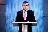A screen grab of Prime Minister Gordon Brown, Labour Party leader, during the UK's first ever party leaders' general election TV debate held in Manchester. .