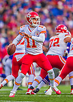 9 November 2014: Kansas City Chiefs quarterback Alex Smith drops back to pass in the third quarter against the Buffalo Bills at Ralph Wilson Stadium in Orchard Park, NY. The Chiefs rallied with two fourth quarter touchdowns to defeat the Bills 17-13. Mandatory Credit: Ed Wolfstein Photo *** RAW (NEF) Image File Available ***