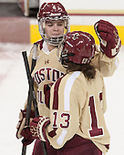 Melissa Bizzari (BC - 4), Haley McLean (BC - 13) - The Boston College Eagles defeated the visiting University of Maine Black Bears 5 to 1 on Sunday, October 6, 2013, in their Hockey East season opener at Kelley Rink in Conte Forum in Chestnut Hill, Massachusetts.