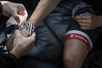 Boy van Poppel's (NED/Trek-Segafredo) wrists taped in by the team doctor pre-race<br /> <br /> 115th Paris-Roubaix 2017 (1.UWT)<br /> One Day Race: Compi&egrave;gne &rsaquo; Roubaix (257km)