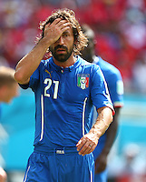 Andrea Pirlo of Italy shows a look of dejection