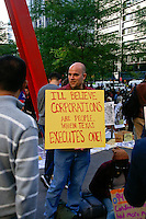 Corporation can't be executed sign at the Occupy Wall Street Protest in New York City October 6, 2011.