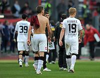 FUSSBALL   1. BUNDESLIGA  SAISON 2011/2012   24. Spieltag 1. FC Nuernberg - Borussia Moenchengladbach      04.03.2012 Martin Stranzl , Filip Daems , Mike Hanke (v. li., Borussia Moenchengladbach)