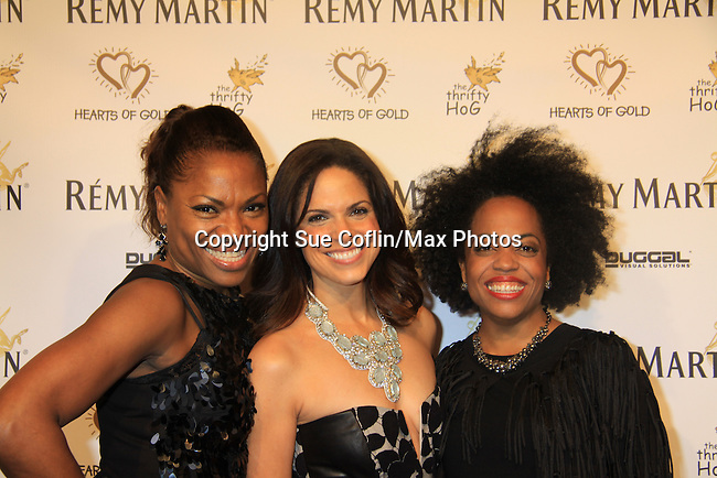 """Deborah Koenigsberger and CNN's Soledad O'Brien (co-mistress of ceremonies) and Another World's Rhonda Ross at Hearts of Gold's 16th Annual Fall Fundraising Gala & Fashion Show """"Come to the Cabaret"""", a benefit gala for Hearts of Gold on November 16, 2012 at the Metropolitan Pavilion, New York City, New York.   (Photo by Sue Coflin/Max Photos)"""