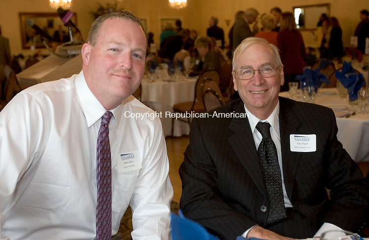 TORRINGTON, CT. 01 April 2013-040113S09-From left, Dave Roy of Burlington and Paul Patch of O&G Industries attend the Northwest Connecticut's Chamber Hall of Fame induction and annual meeting at the Cornucopia Banqueting Hall in Torrington Monday..Steven Valenti Republican-American