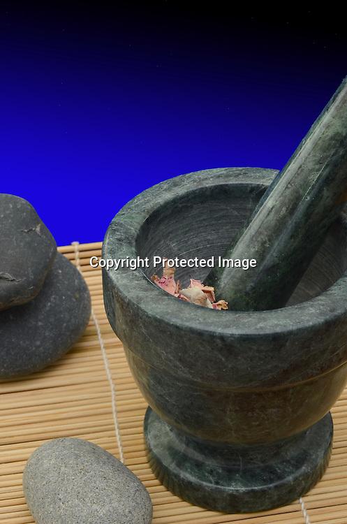 Stock photo of medicinal herbs preparation