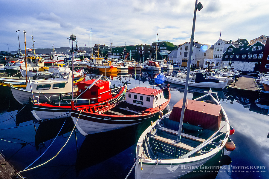 Faroe Islands. The harbour in Tórshavn, the capital and largest town.