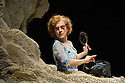 London, UK. 18.02.2015. HAPPY DAYS, by Samuel Becket, returns to the Young Vic theatre, starring Juliet Stevenson as Winnie, and David Beames as Willie. Directed by Natalie Abrahami, with lighting desing by Paule Constable. Photograph © Jane Hobson.