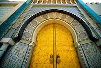 Gilt bronze portals of the Monumental Gate, Palais Royal (Fes el-Jdid), Fes, Morocco