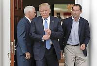 United States President-elect Donald Trump (C) and Vice President-elect Mike Pence (L) exit after meeting with Jonathan Gray (R) at the clubhouse of Trump International Golf Club, in Bedminster Township, New Jersey, USA, 20 November 2016.<br /> Credit: Peter Foley / Pool via CNP /MediaPunch