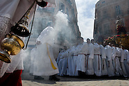 The frankincense smoke flows out of the brass censer and fills the streets with heavy aroma during the Holy Week fiesta in Malaga, Spain, 9 April 2007.