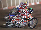 Heat 4 - Bjerre (green), Shields (red), Tomicek, Hefenbrock - Lakeside Hammers vs Peterborough Panthers - Sky Sports Elite League at Arena Essex, Purfleet - 31/08/07  - MANDATORY CREDIT: Gavin Ellis/TGSPHOTO - SELF-BILLING APPLIES WHERE APPROPRIATE. NO UNPAID USE. TEL: 0845 094 6026..