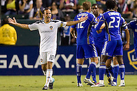 Landon Donovan of the LA Galaxy yells explectives as Kansas City Wizard palyers celebrate a Davy Arnaud goal. The Kansas City Wizards beat the LA Galaxy 2-0 at Home Depot Center stadium in Carson, California on Saturday August 28, 2010.