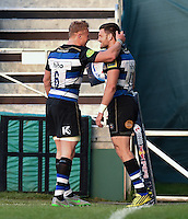 Jeff Williams of Bath Rugby is congratulated after scoring his second try of the match. West Country Challenge Cup match, between Bath Rugby and Gloucester Rugby on September 26, 2015 at the Recreation Ground in Bath, England. Photo by: Patrick Khachfe / Onside Images