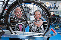 Pictured with a vintage Raleigh bicycle at the launch of the new Sheffield Train Station Cycle Hub are Philip Darnton, Chair of the Cycle Rail Working Group and Baroness Susan Kramer who unveiled a plaque to mark the occasion
