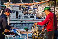 Fishermen preparing their gear at Heda Port on the Izu Peninsula, Japan.
