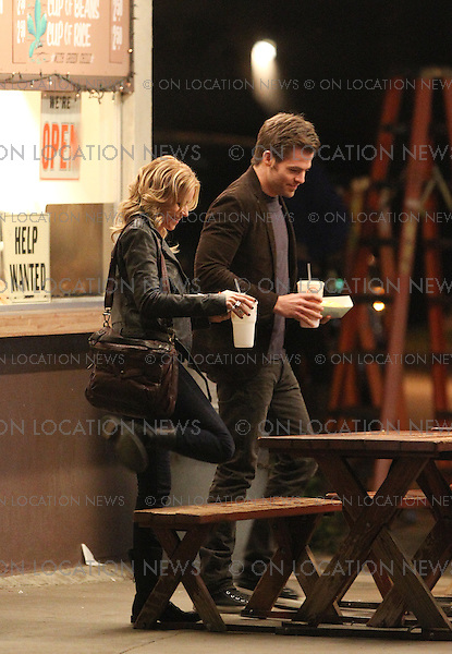 January 27th, 2011 Los Angeles, CA. Non Exclusive. The first look at Chris Pine and Elizabeth Banks filming together for the dramatic movie &quot;Welcome To People&quot;. Chris Pine arrived on set with his ipad before filming scenes with Elizabeth Banks all night outside in the chilly weather at the well known and highly regarded Henry's Taco Stand in The San Fernando Valley. Photo by Eric Ford/ On Location News 818-613-3955 info@onlocationnews.com